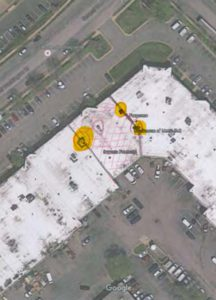 Roof top image shows location of existing HVAC equipment.